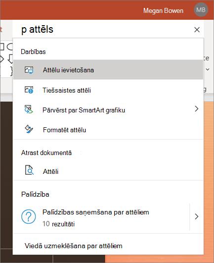 Meklēšanas lodziņš darbībā programmā PowerPoint ar meklētiem attēliem