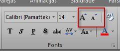 excel grupa fonts