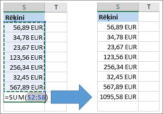 Līdzekļa Automātiskā summa izmantošana