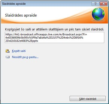 dialoglodziņš slaidrādes apraide, kurā redzams slaidrādes url.