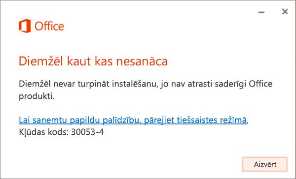 Radās kļūda; kļūdas ziņojums30053