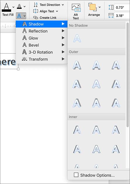 WordArt ēnas opcijas