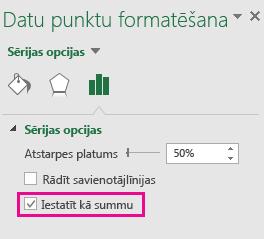 Datu punktu formatēšanas uzdevumrūts ar atzīmētu opciju Iestatīt kā kopsummu komplektā Office 2016 operētājsistēmai Windows