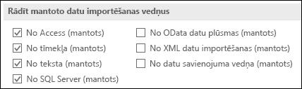 Attēls, kurā iegūt un transformēt mantotais vedņa opcijas no faila > Opcijas > datu.