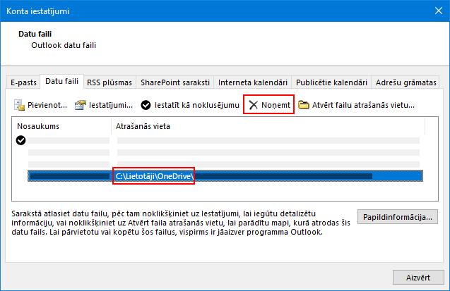 Outlook datu failu dialogs