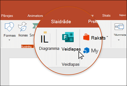 Veidlapas ikona programmā PowerPoint