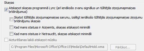 Lync brīdinājumu iestatījumu mainīšana