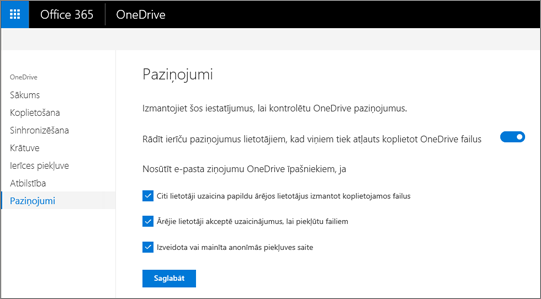 Cilnes paziņojumi OneDrive administrēšanas centrā