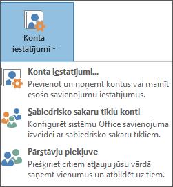 Ekrānuzņēmums, kurā redzama pārstāvja pievienošana programmā Outlook