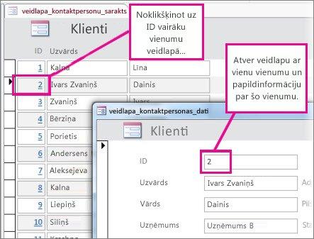 Noklikšķiniet uz ID vairāku vienumu formā, lai atvērtu atsevišķa vienuma formu.