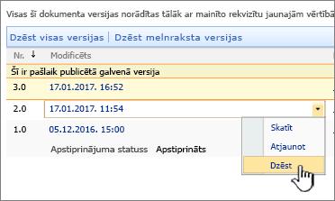 Versiju izveides nolaižamais saraksts ar failu iezīmēta opcija dzēst