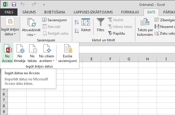Datu importēšana no Access, izmantojot mazu lenti