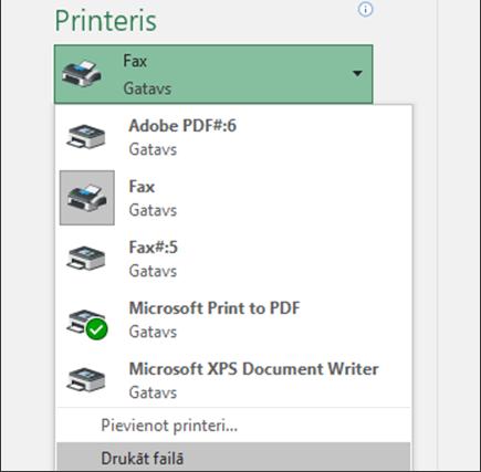 Opcija failu drukāšana