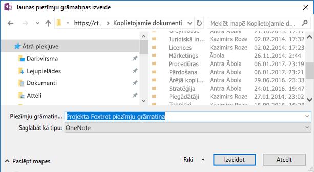OneNote darbam ar Windows 2016 dialoglodziņš Jaunas piezīmju grāmatiņas izveide