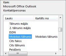 mob. t. ir kartēts uz outlook lauku mobilais tālrunis