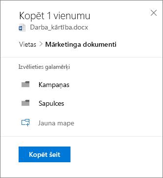 Ekrānuzņēmums, kurā redzama atrašanās vietas izvēle, kopējot failu vidē SharePoint