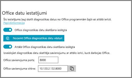 Diagnostikas datu skatītāja iestatījumi, kur redzama Office savienojuma virkne