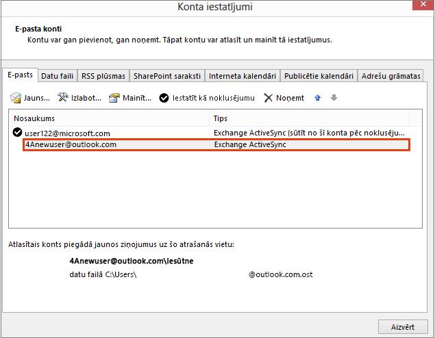 Outlook konta iestatījumi, e-pasta konti