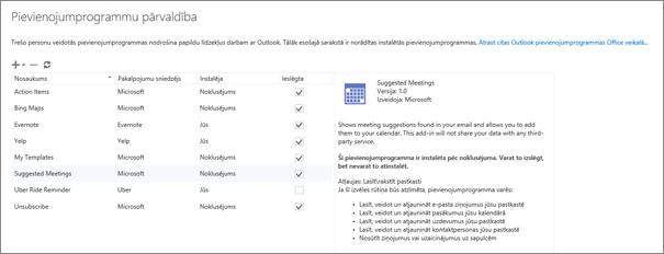 Ekrānuzņēmums, kurā redzams pievienojumprogrammu pārvaldības logs, kurā varat pievienot vai noņemt pievienojumprogrammas, skatīt informāciju par pievienojumprogrammu un atvērt Office veikalu, lai atrastu citas pievienojumprogrammas darbam ar Outlook. Ir atlasīta pievienojumprogramma Ieteiktās sapulces, un ir redzama informācija par to.