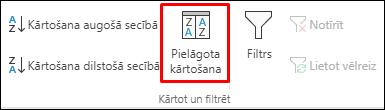 Excel pielāgotās kārtošanas opcijas cilnē Dati