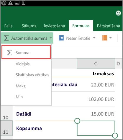 Lentes piekļuves izvēlne programmā Excel darbam ar Android