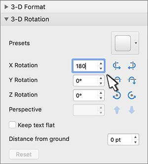Telpiskas pagriešanas sadaļa ar atlasītu X rotāciju