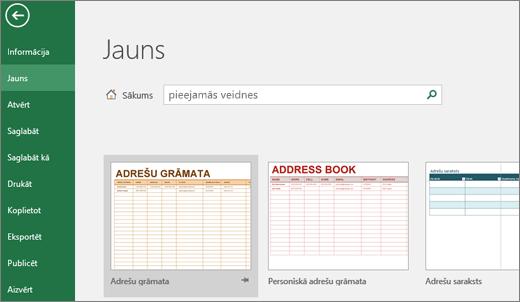 Excel lietotāja interfeisa rāda meklēšanas lodziņā ekrāna klipu piepildīta ar pieejamu veidnes pieejamu veidnes ieraksts un meklēšanas rezultātus.