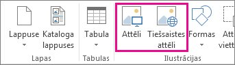 Ekrānuzņēmums, kurā redzamas opcijas Ievietot attēlus izvēlnē Ievietot programmā Publisher.