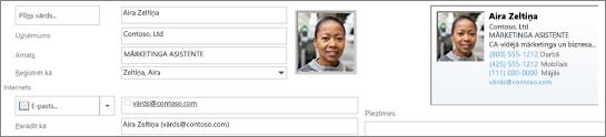 Varat pievienot vai mainīt attēlu kontaktpersonas.