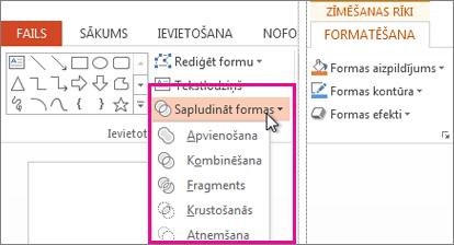 Formu sapludināšanas opcijas ir pieejamas sadaļas Zīmēšanas rīki cilnē Formatēšana.
