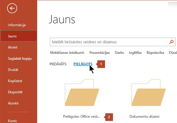 Noklikšķinot uz Fails > Jauns, noklikšķiniet uz Pielāgots un pēc tam uz pielāgotas Office veidnes.