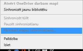 """Komandas """"Apturēt mapes sinhronizāciju"""" ekrānuzņēmums, noklikšķinot uz OneDrive darbam sinhronizācijas klienta ar labo pogu"""