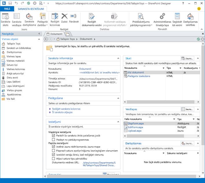 Priekšskatījuma SharePoint Designer 2013 attēls.