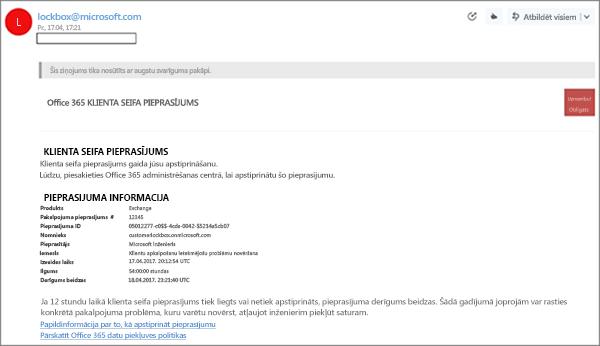 Ekrānuzņēmums: Klientu lockbox e-pasta paraugs