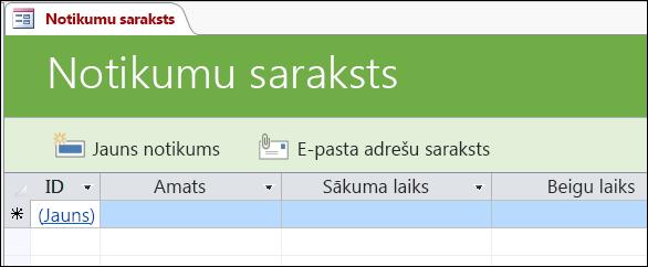 Notikumu saraksta forma Access notikumu datu bāzes veidnē
