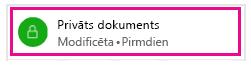 Slēdzenes ikona rāda, ka tikai jūs varat skatīt dokumentu
