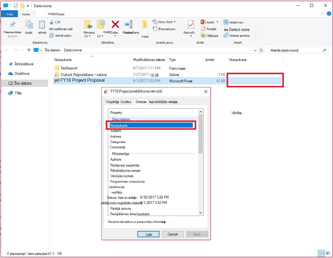 Office dokumenta rekvizīti Windows failu pārlūkā