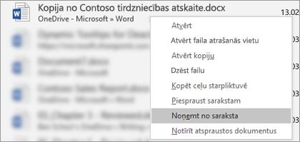 Kontekstizvēlne, kas tiek rādīta, ja ar peles labo pogu noklikšķināt uz faila nesen lietoto failu sarakstā.