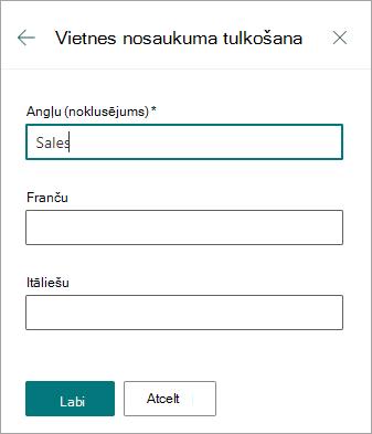 Vietnes nosaukuma tulkošana