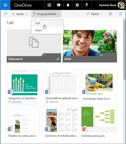 Failu augšupielāde pakalpojumā OneDrive