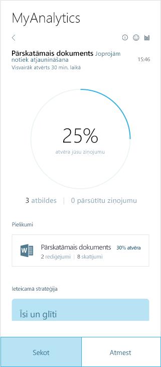 Ekrānuzņēmums ar MyAnalytics rezultāti