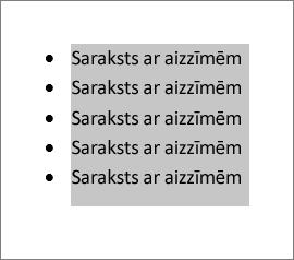 Atlasīts saraksta teksts ar aizzīmēm