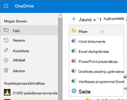 Mapes izveide pakalpojumā OneDrive