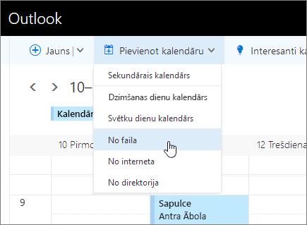 Pievienojiet ekrānuzņēmums kalendāra sarakstu ar no atlasīto failu.