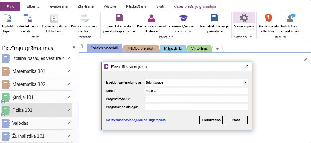 OneNote mācību priekšmetu piezīmju grāmatiņu pievienojumprogrammas, izmantojot grupas politiku, kas nav konfigurēts savienojumu ekrānuzņēmums dialoglodziņš.