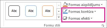 Grupa Formu stili cilnē Zīmēšanas rīki/Formatēšana