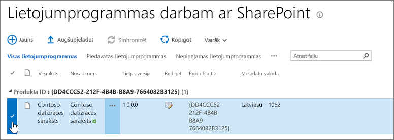 Lietojumprogrammas darbam ar SharePoint programmu kataloga programma ir atlasīts