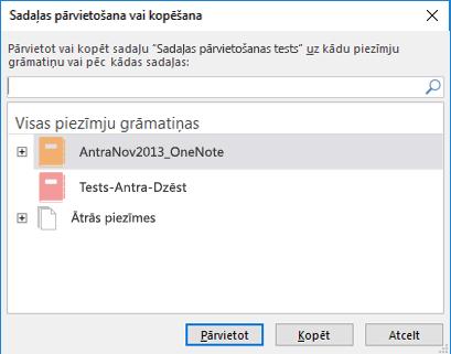 OneNote darbam ar Windows 2016 dialoglodziņš Sadaļas pārvietošana vai kopēšana