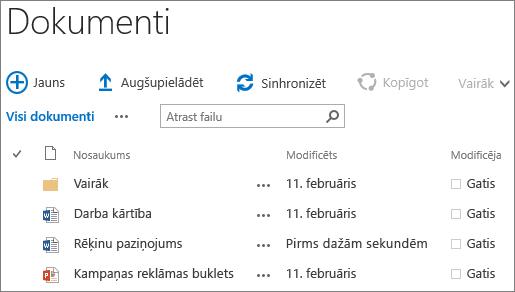 Ekrānuzņēmums: dokumentu bibliotēka pakalpojumā SharePoint Server2016