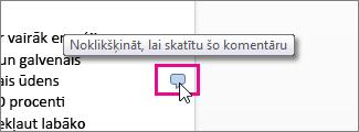 Noklikšķiniet, lai skatītu komentārus programmā Word Online